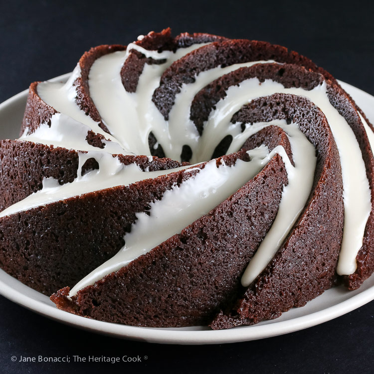 Deep Chocolate Zebra Cake (Gluten-Free) © 2018 Jane Bonacci, The Heritage Cook