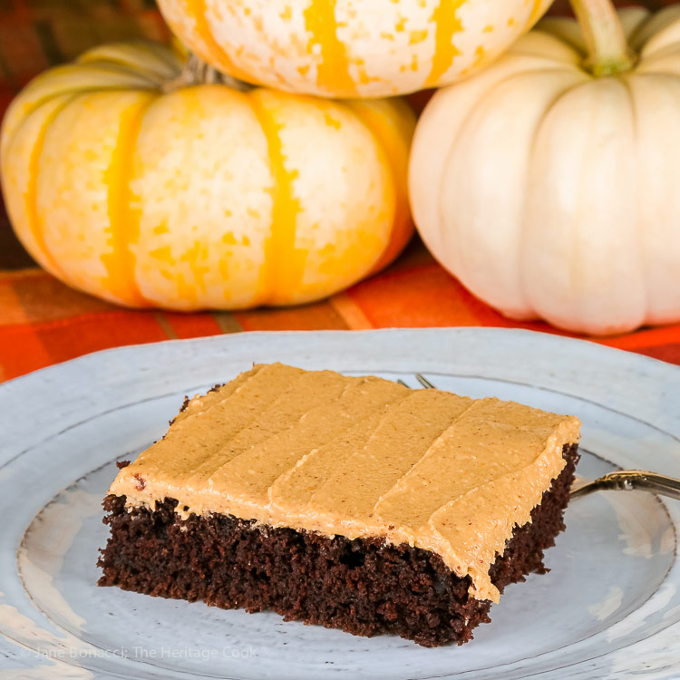 square image; Deep Chocolate Cake with Peanut Butter Frosting © 2018 Jane Bonacci, The Heritage Cook