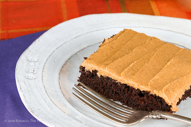 close up of Deep Chocolate Cake with Peanut Butter Frosting © 2018 Jane Bonacci, The Heritage Cook