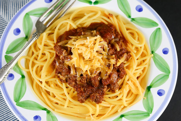 top down view; Secret Ingredient Ohio Chili with Spaghetti © 2018 Jane Bonacci, The Heritage Cook