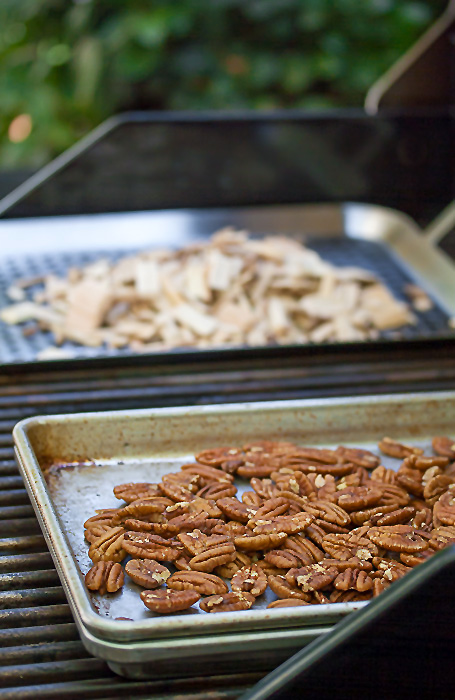 Smoking the pecans on the grill; Grilled Crustless Bourbon Pecan Pies with Gluten Free Directions © 2018 Jane Bonacci, The Heritage Cook