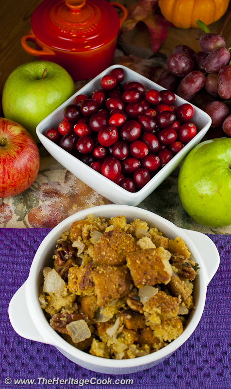 Gluten-Free Stuffing and fresh cranberries; 15 Favorite Thanksgiving Recipes for 2018 © Jane Bonacci, The Heritage Cook