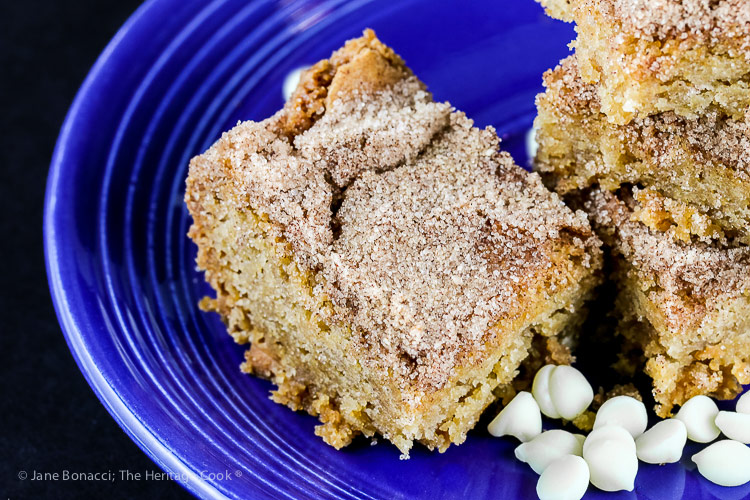 close up of White Chocolate Snickerdoodle Bars (Gluten Free) © 2018 Jane Bonacci, The Heritage Cook
