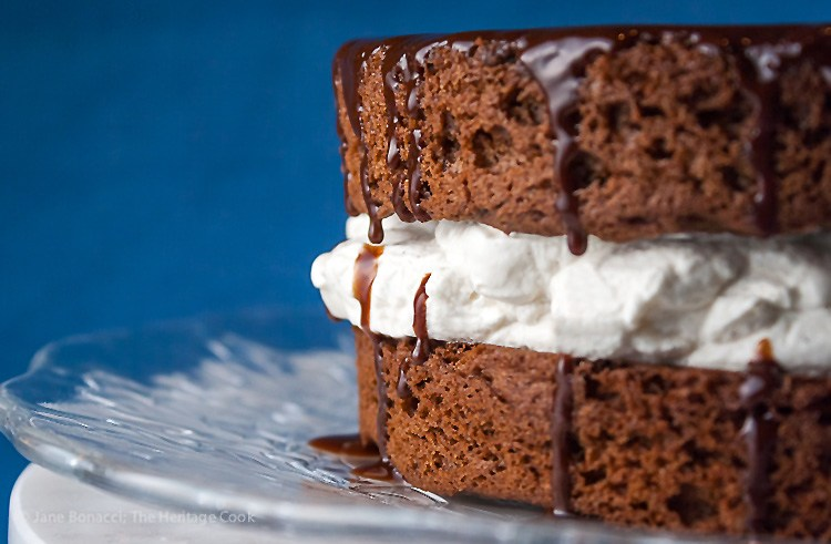 Chocolate and Whipped Cream Layer Cake; Top 15 Most Popular Chocolate Monday Recipes from The Heritage Cook 2018 Jane Bonacci, The Heritage Cook