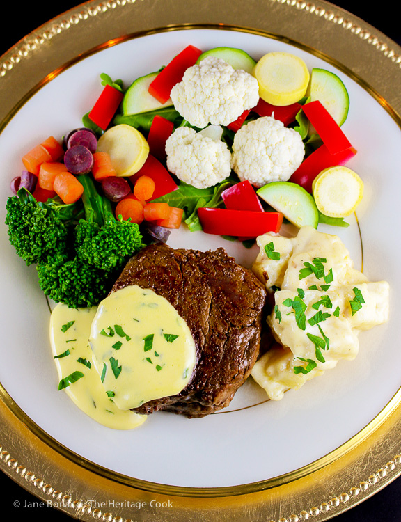 top down full dinner plate with steak and sauce; Holiday Foolproof Béarnaise Sauce (Gluten Free) © 2018 Jane Bonacci, The Heritage Cook