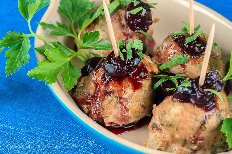 close up of meatballs; Cherry Red Wine Baked Turkey Meatballs © 2019 Jane Bonacci, The Heritage Cook