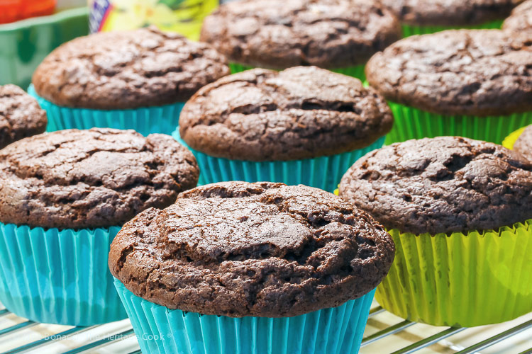 hot from the oven; Gluten Free Chocolate Muffins © 2019 Jane Bonacci, The Heritage Cook