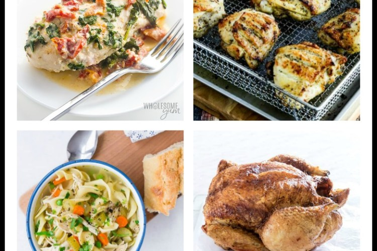 4 images of healthy chicken dishes; 15 Great Chicken Recipes collection, compiled by Jane Bonacci, The Heritage Cook