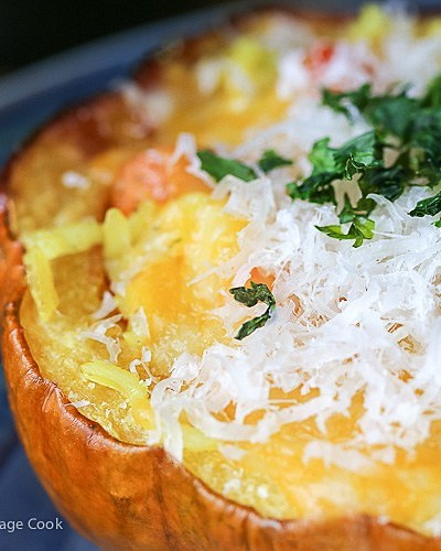 Moroccan Pilaf Stuffed Acorn Squash; A Dozen Vegetarian Entrees to Enjoy, compiled by Jane Bonacci, The Heritage Cook 2019