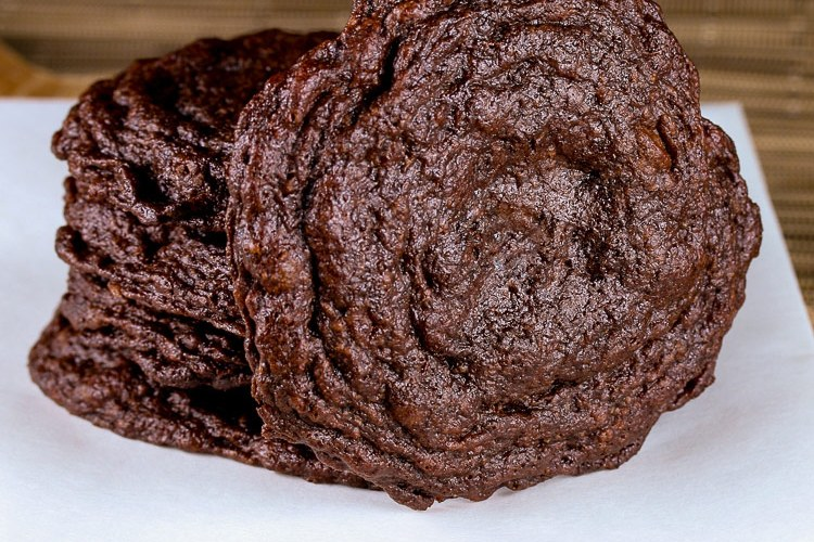 stack of cookies; Secret Ingredient Crispy Chocolate Cookies © 2019 Jane Bonacci, The Heritage Cook