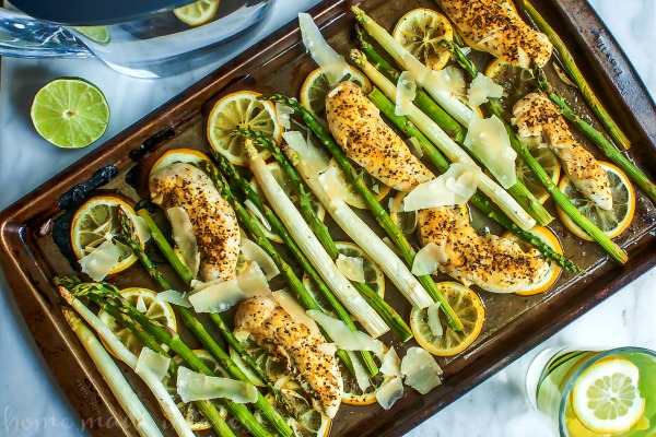 Sheet Pan Lemon Chicken and Asparagus; Collection of Healthy Chicken One Pot and Sheet Pan Dinners assembled by Jane Bonacci, The Heritage Cook 2019