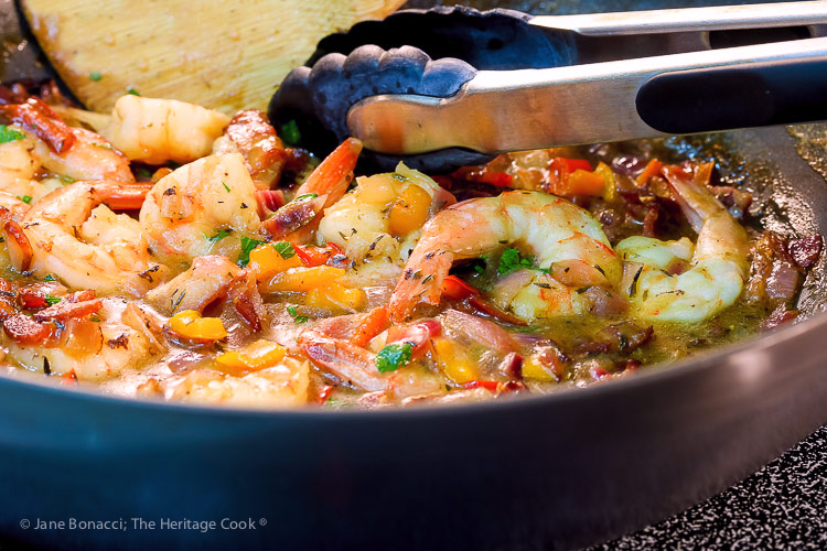 shrimp sauce; Southern Shrimp and Grits © 2019 Jane Bonacci, The Heritage Cook
