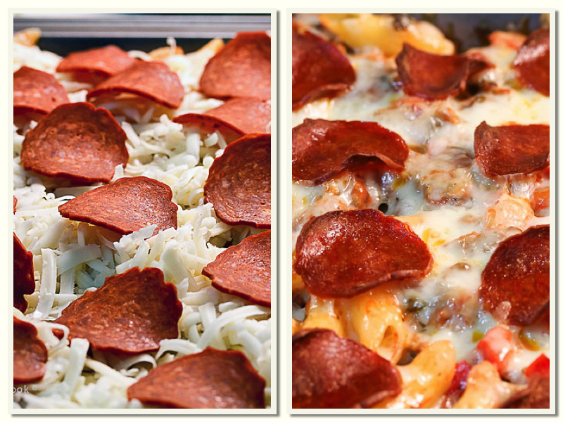 Before and after baking; Cheesy Pepperoni Pizza Casserole © 2019 Jane Bonacci, The Heritage Cook