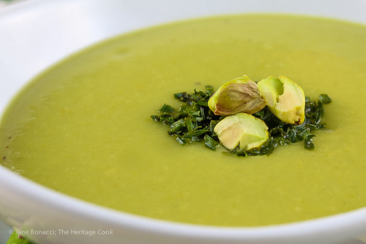 close up of pistachios and chives on soup; Creamy Asparagus Soup (Gluten Free, Dairy Free, Vegan) © 2019 Jane Bonacci, The Heritage Cook