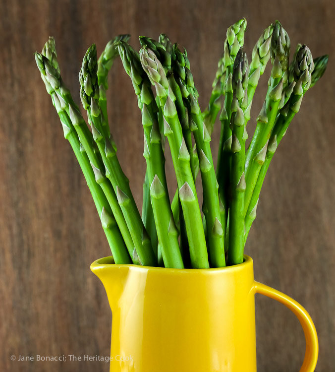 Pitcher full of asparagus spears