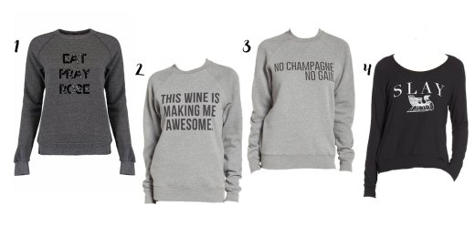 wine and champagne themed sweatshirts
