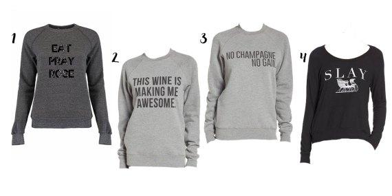 wine and champagne themed sweatshirts