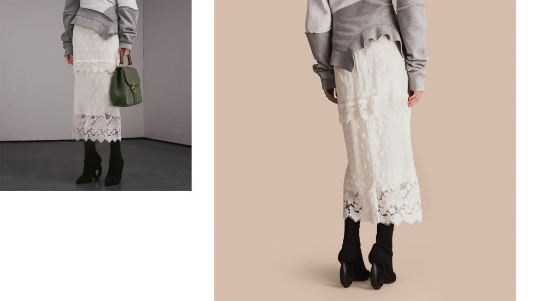 embroidered tulle panelled skirt burberry aw17