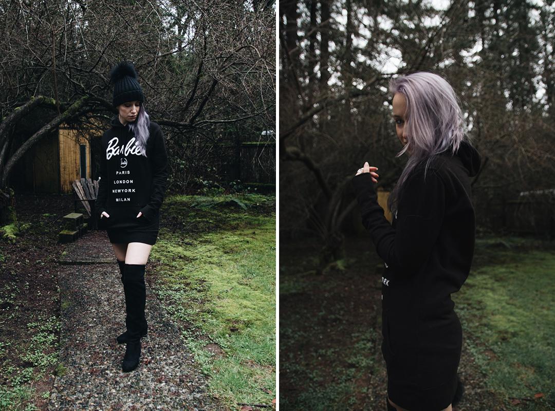 seattle style purple hair and barbie sweatshirt dress