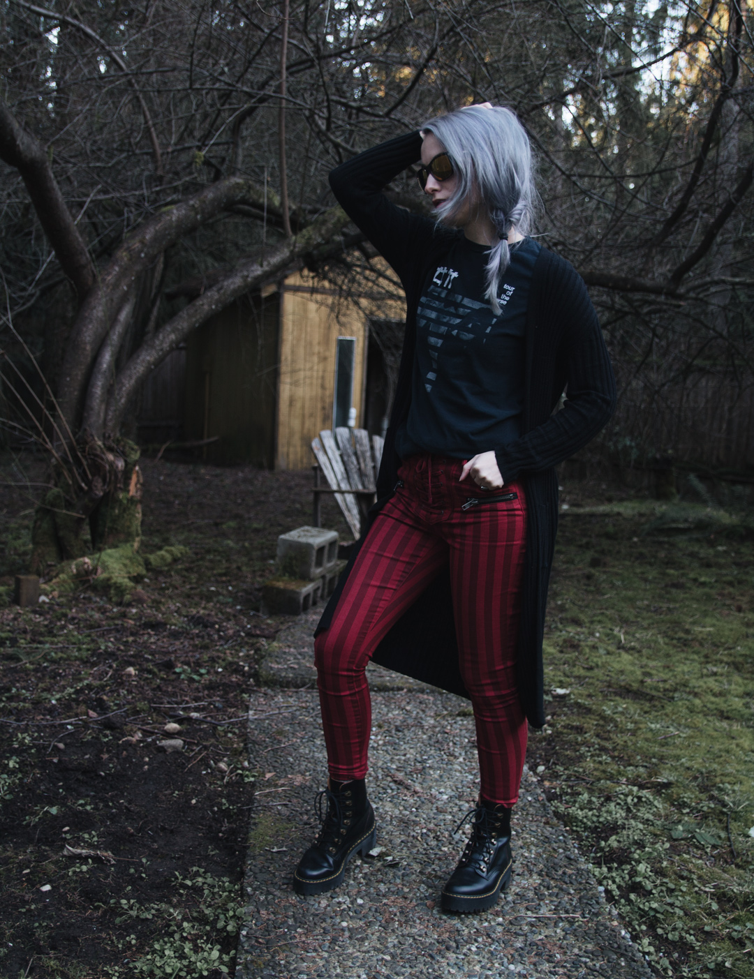 red striped afrm jeans