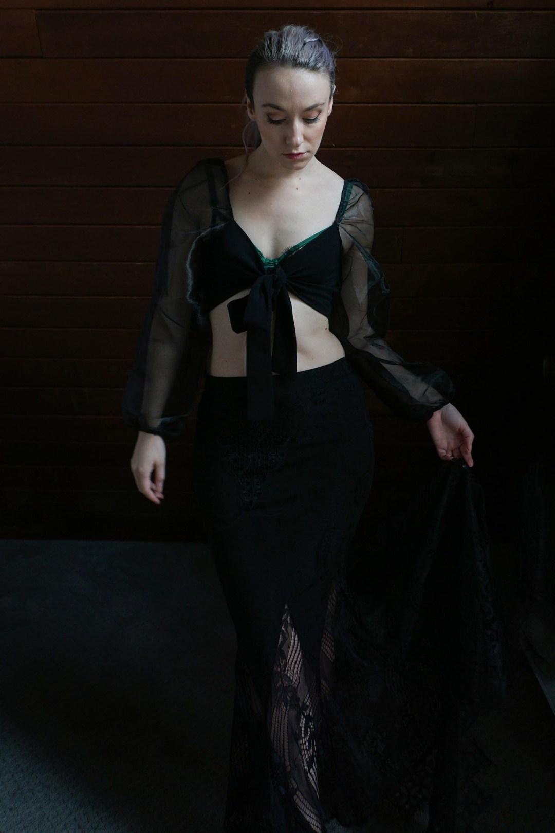 Black Tie Front Organza Mesh Sleeve Crop Top