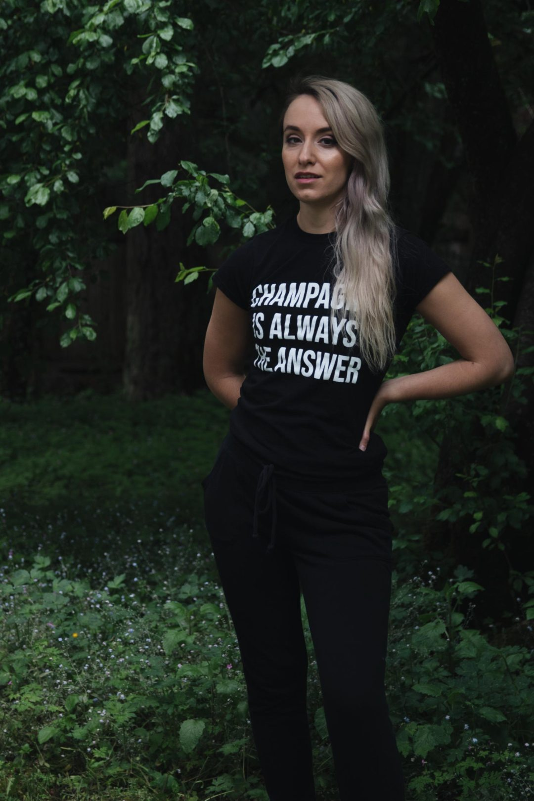 Black 'Champagne Is Always The Answer' Slogan T-Shirt