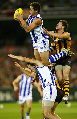 Serial offendder Aaron Edwards goes for a joyride over teammate Drew Petrie, 15th September 2007.