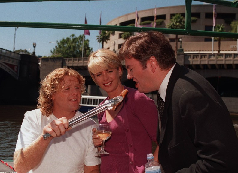 Triple M's Grill Team Dermott Brereton, Brigitte Duclos and Eddie McGuire make the most of their last free day before going back to work at triple M Monday with a trip down the Yarra on a barbie boat . Jan 16 1998 /radio