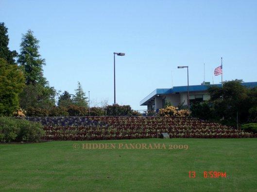 USA Flag Garden at Canada (Surrey, BC) and USA (Washington, DC) Border