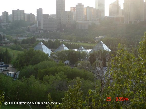 Muttart Conservatory from the top of Gallagher Park
