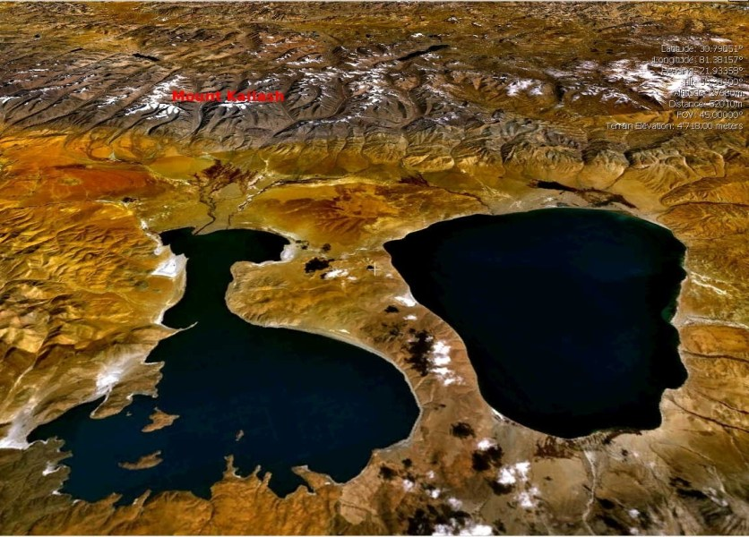 Satellite image of Mansarovar and Rakshastal