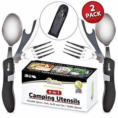 ORBLUE 2-PACK 4-in-1 Camping Utensils