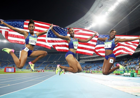 U.S. Women's track and field Olympians during the 2016 Olympics.