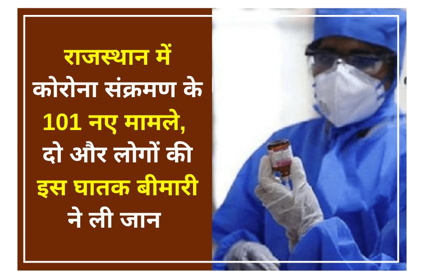 राजस्थान में कोरोना संक्रमण के 101 नए मामले, दो और लोगों की इस घातक बीमारी ने ली जान