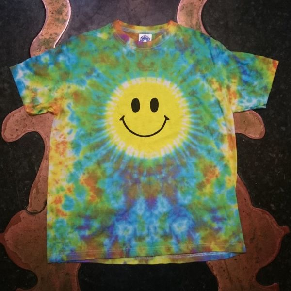 Kid's Smiley Face rainbow Tie Dye T shirt