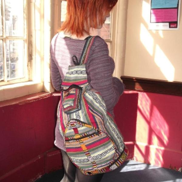 Nepalese multi colour zip up gheri backpack large 2