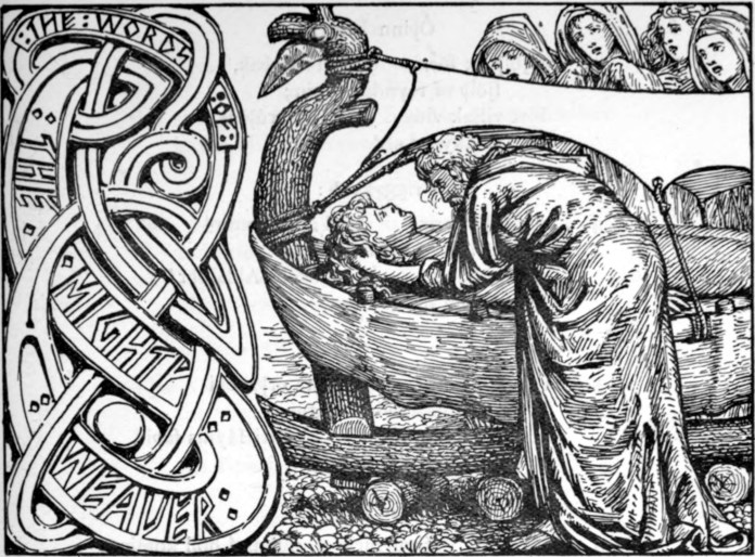 Odin's last words to Baldr, by W.G. Collingwood (1854 - 1932), [Public Domain] via Creative Commons