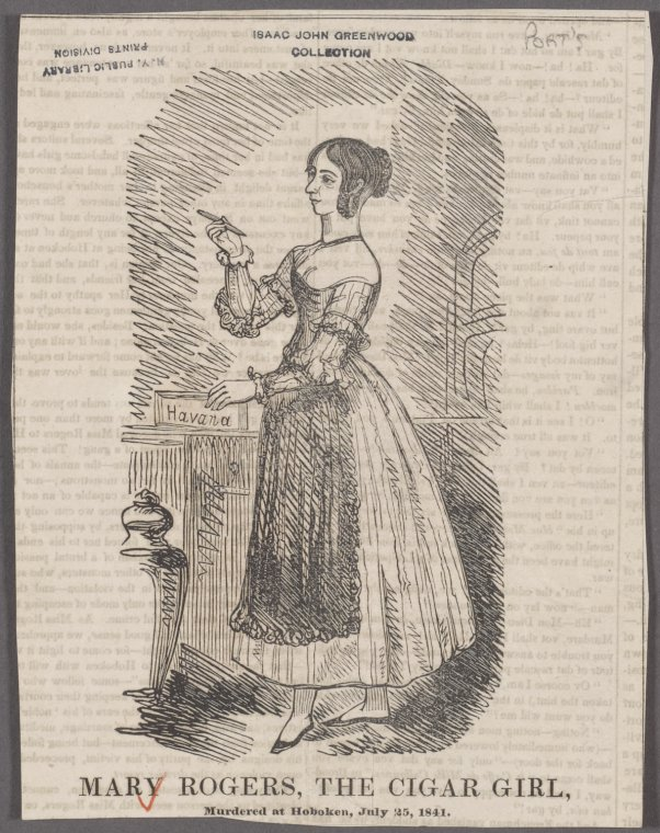 (Newspaper Clipping) Mary Rogers, the cigar girl, murdered at Hoboken, July 25, 1841 via The New York Public Library Digital Collections
