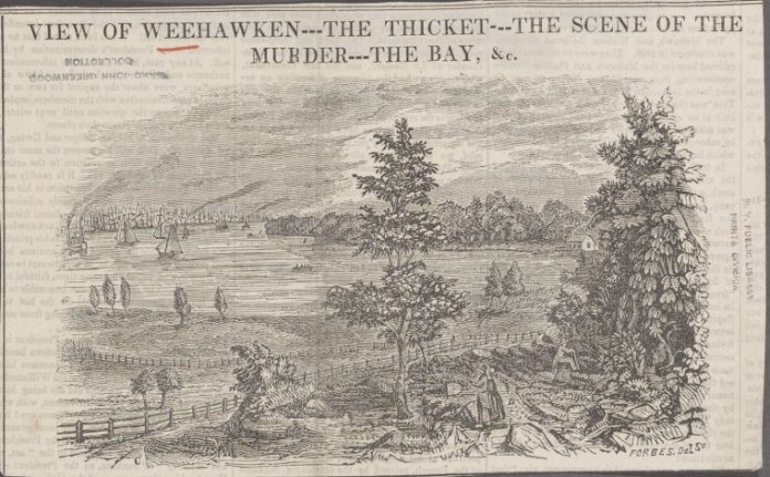 (Newspaper Clipping) View of Weehawken--the thicket--the scene of the murder--the bay, etc. via The New York Public Library Digital Collections