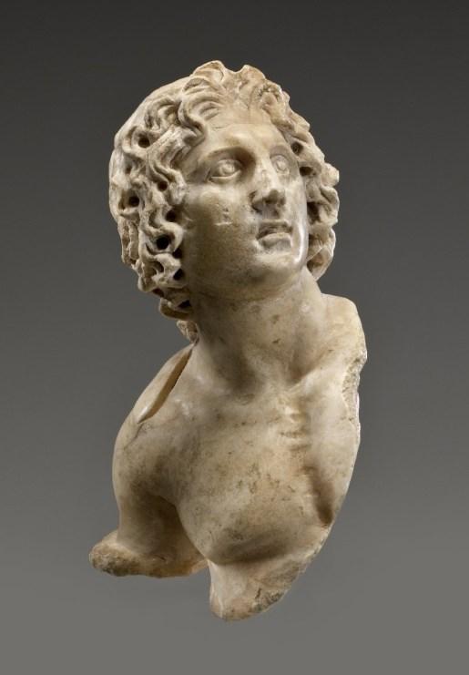 Alexander the Great, 100 B.C.E. – 100 C.E. marble, 3 1_2 x 2 x 1 1_2 in. (8.9 x 5.1 x 3.8 cm). Brooklyn Museum, Charles Edwin Wilbour Fund, 54.162, [Public Domain] via Creative Commons.jpg