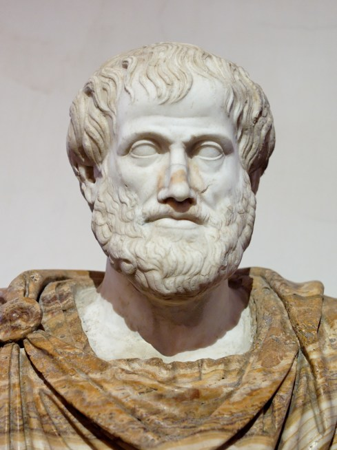 Bust of Aristotle. Marble, Roman copy after a Greek bronze original by Lysippos from 330 BC, [Public Domain] via Creative Commons.jpg