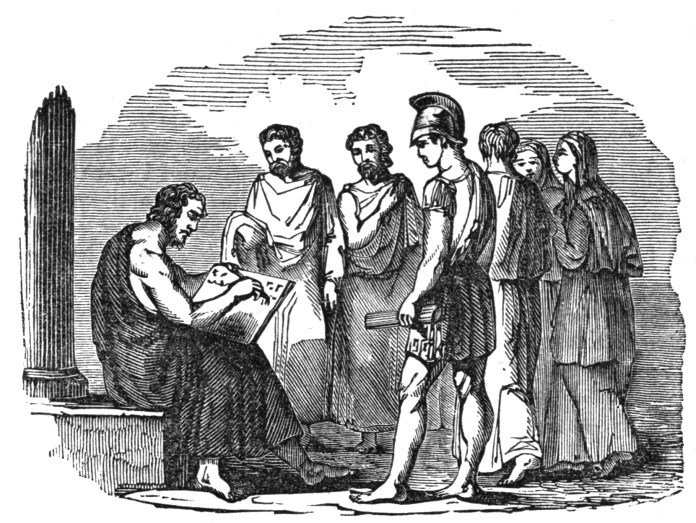 Solon writing laws for Athens, in an 1842 wood engraving, [Public Domain] via Creative Commons.jpg