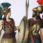 social media crop of Ancient Greek costumes painted by Albert Kretschmer, painters and costumer to the Royal Court Theatre, Berin, and Dr. Carl Rohrbach [Public Domain] via Creative Comm