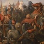 social media crop scene Battle of Stamford Bridge painted by Peter Nicolai Arbo (1831–1892), [Public Domain] via Creative Commons