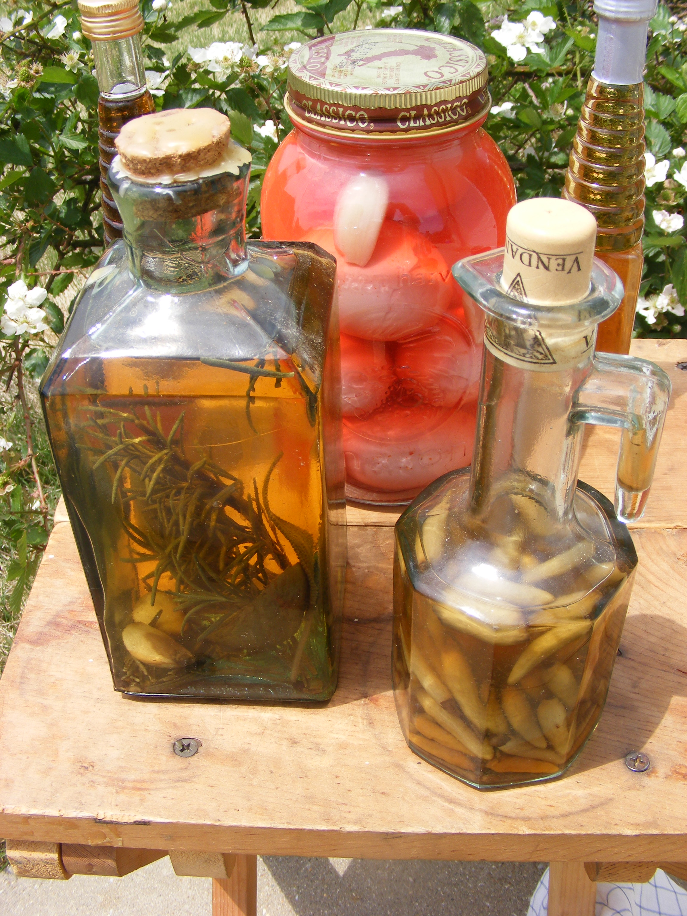 A selection of herbal vinegars