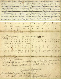 Intercepted letter from Mary Queen of Scots. Deciphered by Thomas Phelippes, an expert forger, he also added a postscript seeking the names of Babington's accomplices. The original is now held by the National Archives, Kew.