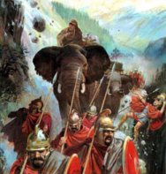An attack by the mountain Gauls, who rolled boulders and otherwise harassed Hannibal's army.