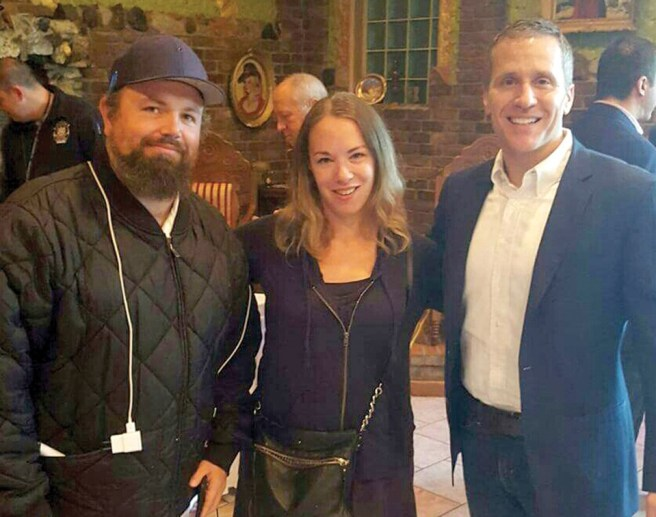 As a reporting duo, Sarah Kendzior and Umar Lee met gubernatorial candidate Eric Greitens, right, in 2016. - COURTESY OF SARAH KENDZIOR