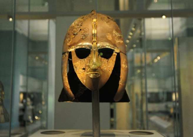 The most famous treasure of the cache is this full-faced iron helmet. Edith Pretty donated all of the artifacts to the British Museum.