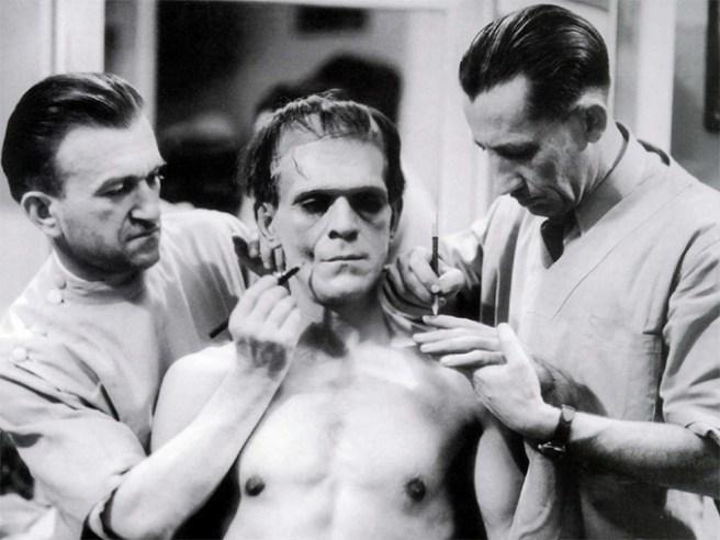 Jack Pierce working on Boris Karloff as Frankenstein